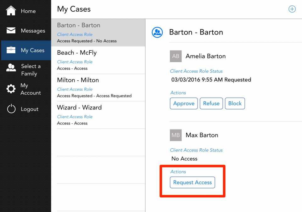 You can request access to the other parent of a family through your My Cases tab
