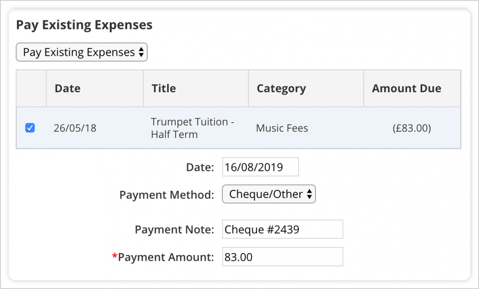 Pay Existing Expenses